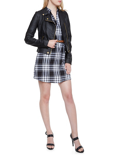 Zip Up Moto Jacket with Quilted Panels,BLACK,large