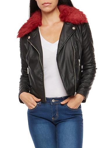 Faux Leather Stitched Jacket,BLACK,large