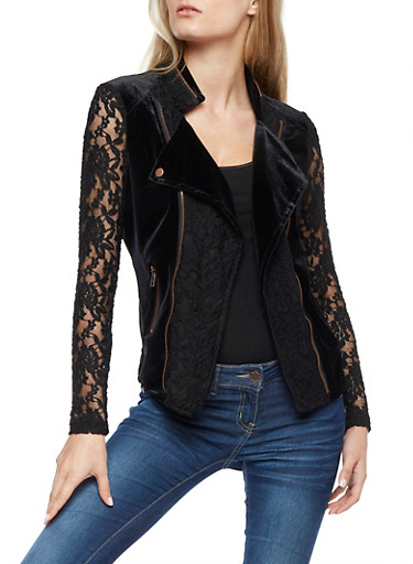 Velvet and Lace Jacket with Zipper Detail at Rainbow Shops in Daytona Beach, FL | Tuggl