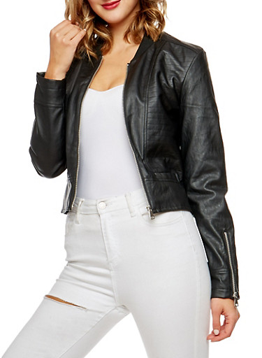 Faux Leather Zip Sleeve Jacket,BLACK,large