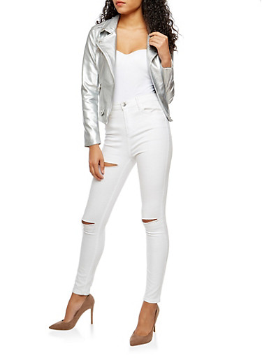 Metallic Asymmetrical Zip Jacket,SILVER,large