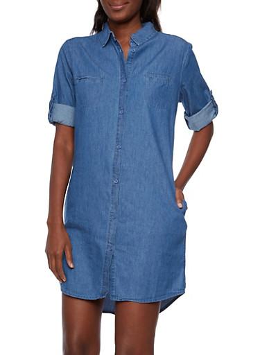 Denim Shirt Dress with Button Front,DENIM,large