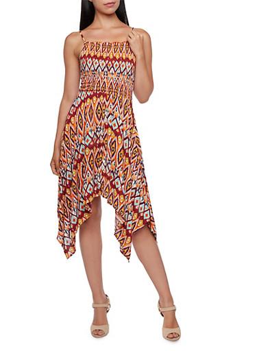 Ikat Print Sundress with Sharkbite Hem,ORANGE,large