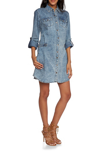 Acid Wash Denim Shirt Dress,BLUE,large