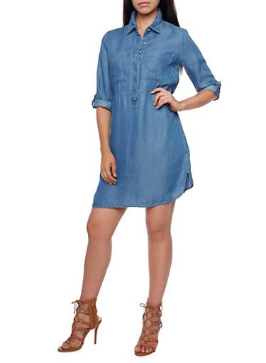 Chambray Shirt Dress with Covertible Sleeves,MEDIUM WASH,large