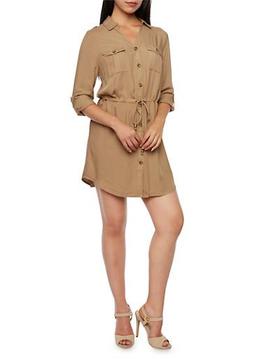 Shirt Dress with Drawstring Waist,KHAKI,large