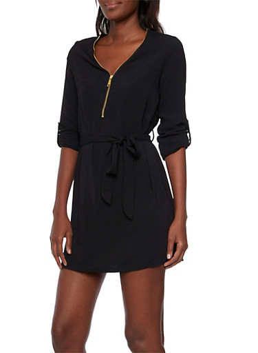 Belted Zip Neck Mini Dress,BLACK,large
