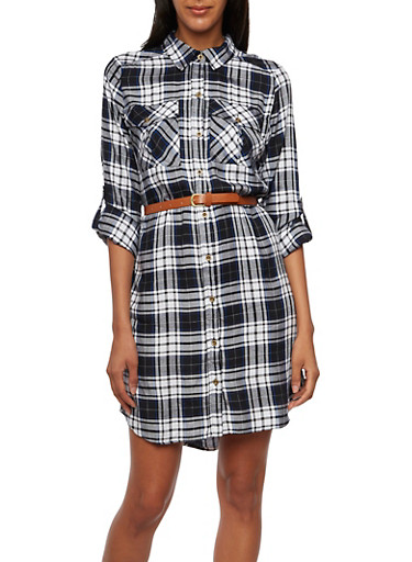 Plaid Shirt Dress with Belt,BLACK/WHITE,large