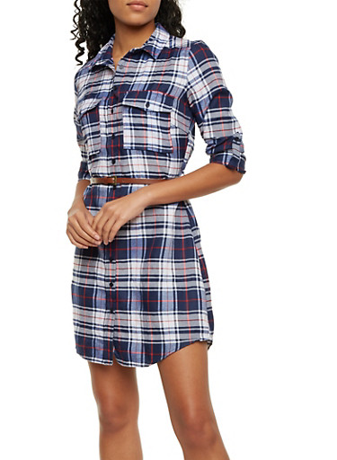 Plaid Shirt Dress with Fixed Cuff Sleeves,NAVY,large