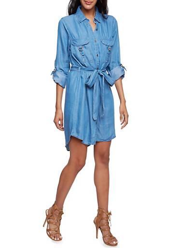 Belted Chambray Shirt Dress,DENIM,large