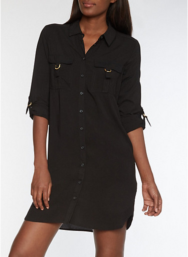 Solid Shirt Dress with Metallic Accents,BLACK,large