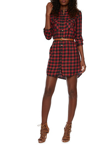 Plaid Shirt Dress with Button Cuff Sleeves,BLACK,large