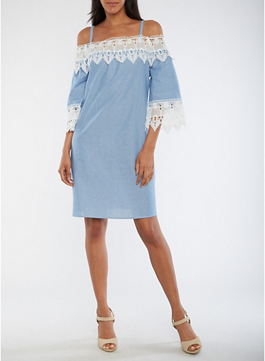 Cold Shoulder Chambray Dress with Crochet Trim,CHAMBRAY,large
