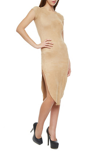 Short Sleeve Brushed Faux Suede Maxi Dress With Slits,CAMEL,large