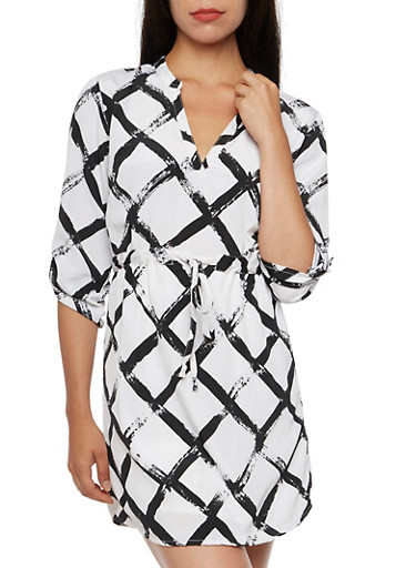 Windowpane Print Dress,WHT-BLK,large