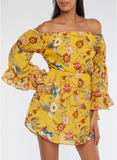 Floral Off the Shoulder Bell Sleeve Dress,YELLOW,large