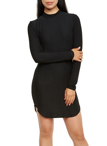 Mock Neck Dress with Long Sleeves,BLACK,large