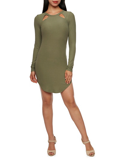 Bodycon Mini Dress with Cutouts,OLIVE,large