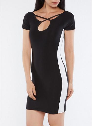 Caged Neck T Shirt Dress,BLACK/WHITE,large
