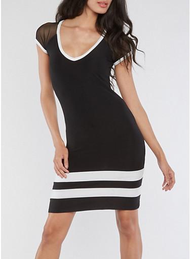 Mesh Cap Sleeve Striped Dress,BLACK/WHITE,large