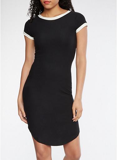 Soft Knit T Shirt Dress,BLACK,large