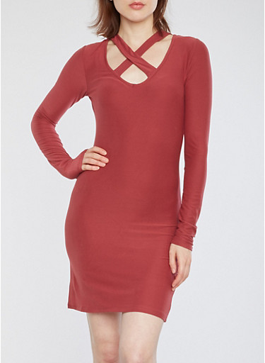 Soft Knit Caged Neck Bodycon Dress,DRY ROSE,large