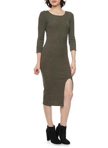 Striped Midi Dress with Slit,OLIVE,large