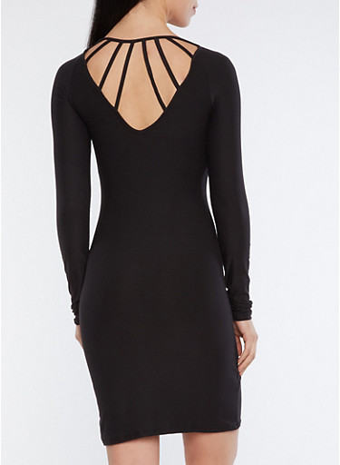 Caged Back Bodycon Dress,BLACK,large