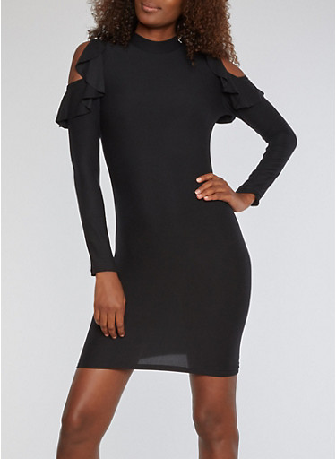 Soft Knit Cold Shoulder Dress with Ruffle Detail,BLACK,large