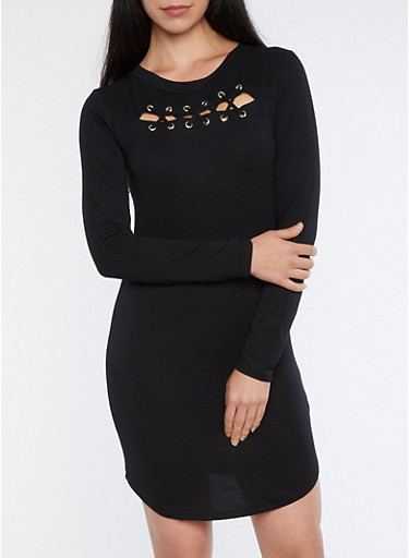 Lace Up Keyhole Bodycon Dress,BLACK,large