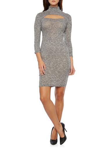 Mock Neck Mini Dress with Cutout,CHARCOAL,large