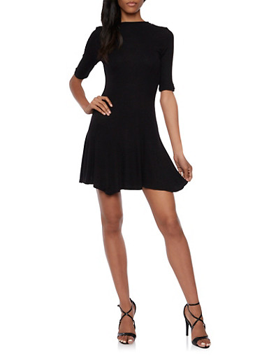 Ribbed Skater Dress,BLACK,large