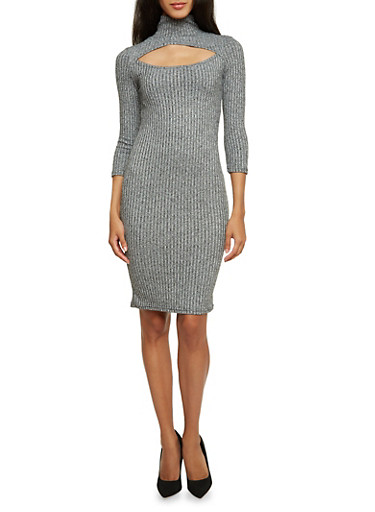 Turtleneck Midi Dress with Cutout,GRAY,large