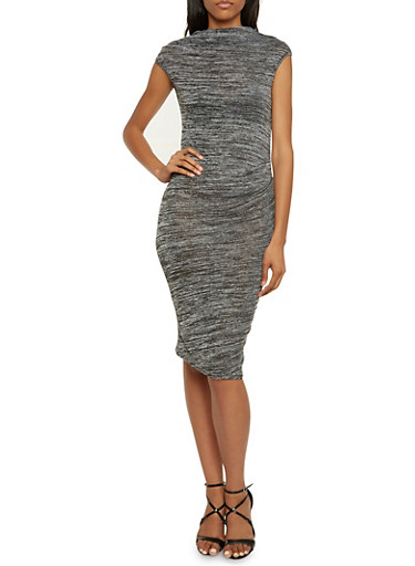 Midi Dress in Marled Knit,CHARCOAL,large