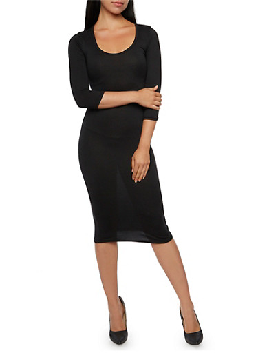 Scoop Neck Midi Dress with Three Quarter Sleeves,BLACK,large