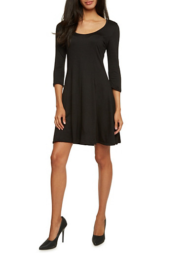 Swing Dress with Three Quarter Sleeves,BLACK,large