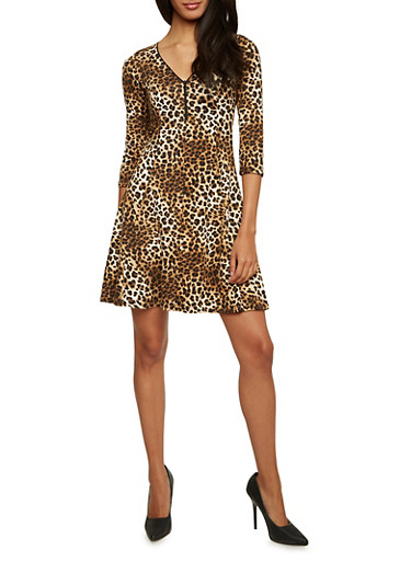 Leopard Print Mini Dress with Zip Neck and Three Quarter Sleeves,BROWN,large