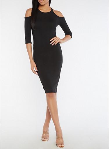 Cold Shoulder Midi Bodycon Dress,BLACK,large