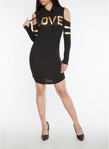 Love Graphic Cold Shoulder Hooded Dress,BLACK,large