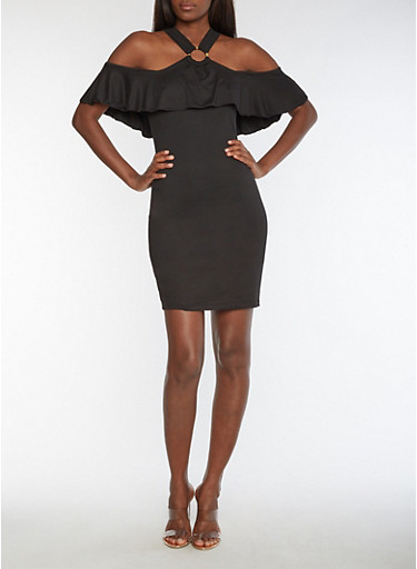 Solid Bodycon Dress with O Ring Overlay,BLACK,large