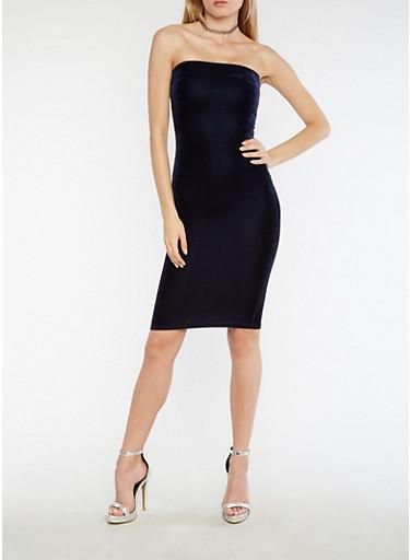 Velvet Midi Tube Dress,NAVY,large