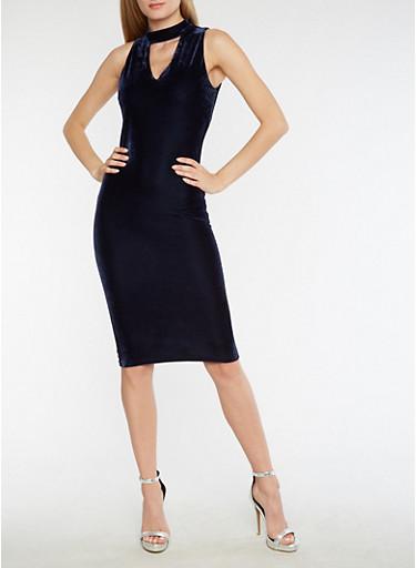 Velvet Keyhole Neck Bodycon Dress,NAVY,large