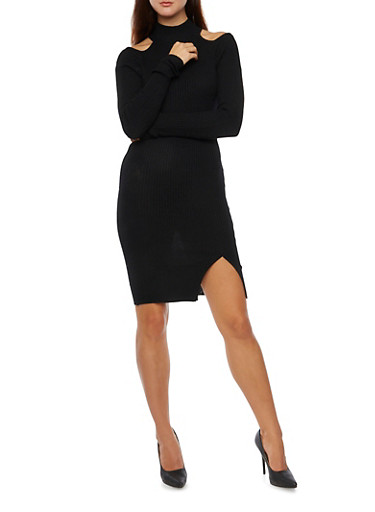 Rib Knit Cold Shoulder Bodycon Dress with Front Slit,BLACK,large