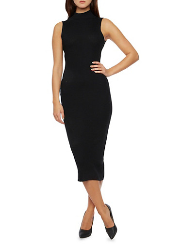Mid Length Rib Knit Turtleneck Bodycon Dress,BLACK,large