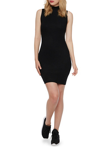 Sleeveless Bodycon Dress in Ribbed Knit,BLACK,large