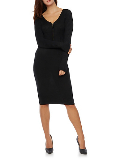 Mid Length Rib Knit Dress with Zippered Neckline,BLACK,large
