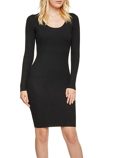 Long Sleeve Scoop Neck Bodycon Dress with Lattice Back,BLACK,large