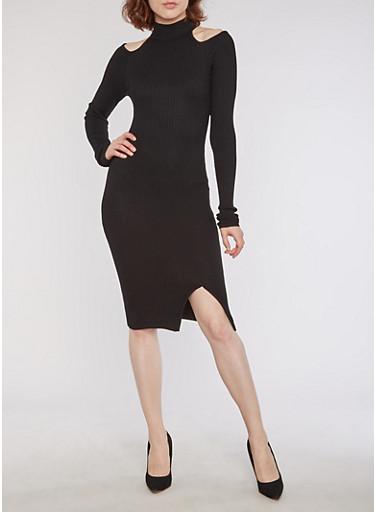 Rib Knit Mock Neck Cold Shoulder Dress,BLACK,large