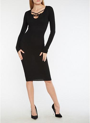 Ribbed Knit Criss Cross Neck Bodycon Dress,BLACK,large