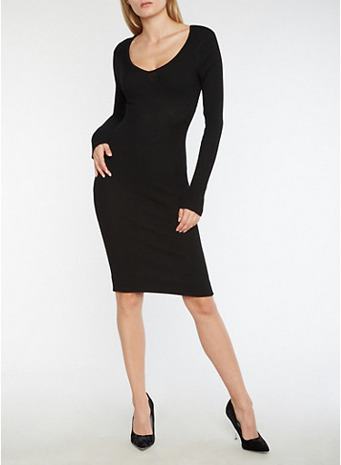 Ribbed Knit Caged Midi Bodycon Dress,BLACK,large